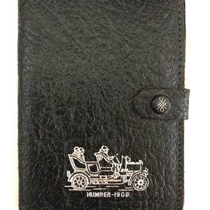 Humber Leather Wallet / Business Card Holder 2 internal pockets Black & Silver
